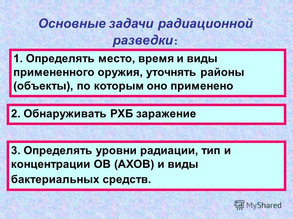 Основные задачи радиационной разведки : 1. Определять место, время и виды примененного оружия, уточнять районы (объекты), по которым оно применено 2. Обнаруживать РХБ заражение 3. Определять уровни радиации, тип и концентрации ОВ (АХОВ) и виды бактер