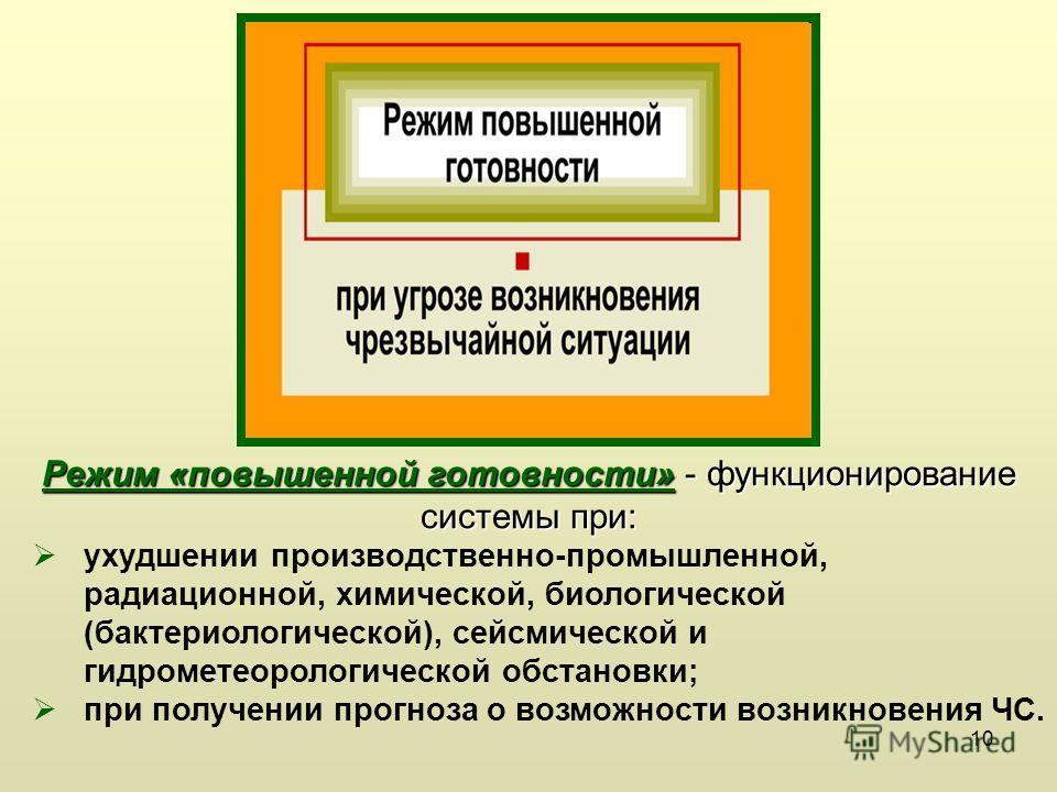 10 Режим «повышенной готовности» - функционирование системы при: ухудшении производственно-промышленной, радиационной, химической, биологической (бактериологической), сейсмической и гидрометеорологической обстановки; при получении прогноза о возможно