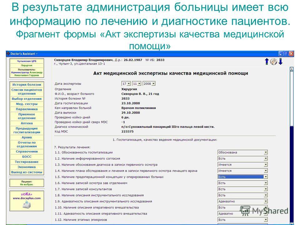 В результате администрация больницы имеет всю информацию по лечению и диагностике пациентов. Фрагмент формы «Акт экспертизы качества медицинской помощи»