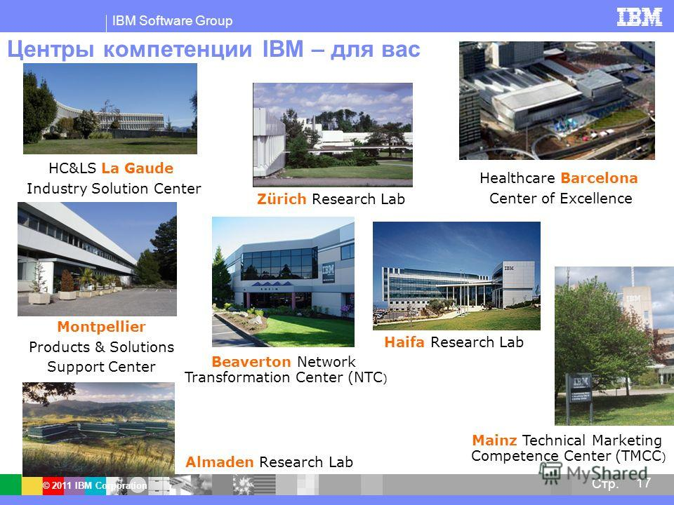 IBM Software Group © 2011 IBM Corporation 17 Стр. Центры компетенции IBM – для вас Montpellier Products & Solutions Support Center Healthcare Barcelona Center of Excellence HC&LS La Gaude Industry Solution Center Haifa Research Lab Beaverton Network