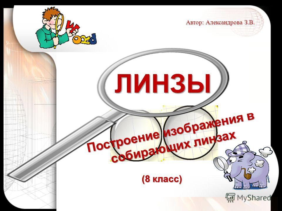 ЛИНЗЫ Построение изображения в собирающих линзах Автор: Александрова З.В. (8 класс)