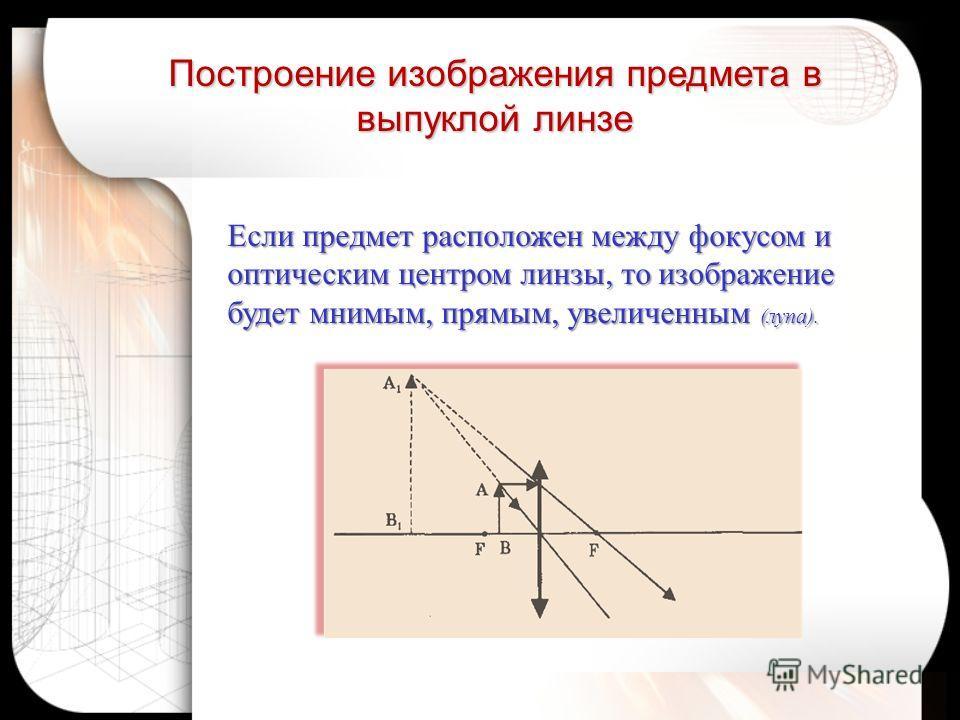 Если предмет расположен между фокусом и оптическим центром линзы, то изображение будет мнимым, прямым, увеличенным (лупа). Построение изображения предмета в выпуклой линзе