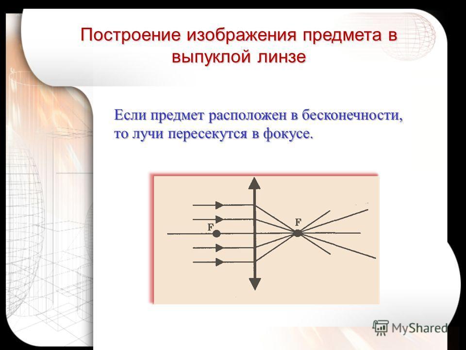 Если предмет расположен в бесконечности, то лучи пересекутся в фокусе. Построение изображения предмета в выпуклой линзе