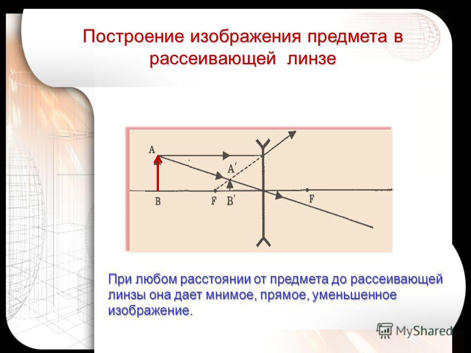 При любом расстоянии от предмета до рассеивающей линзы она дает мнимое, прямое, уменьшенное изображение. Построение изображения предмета в рассеивающей линзе