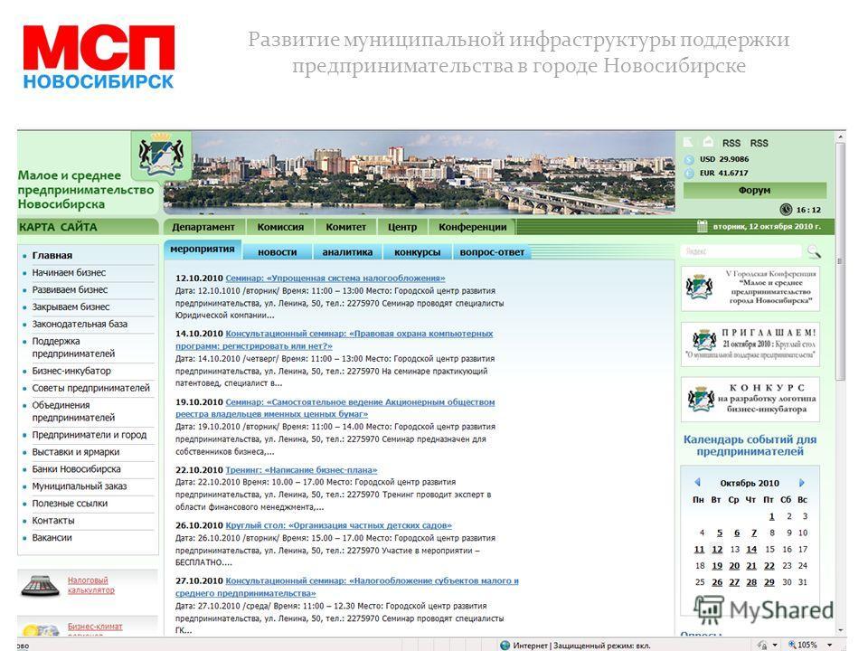 Развитие муниципальной инфраструктуры поддержки предпринимательства в городе Новосибирске