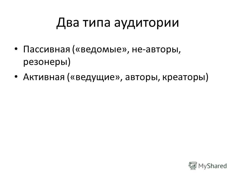 Два типа аудитории Пассивная («ведомые», не-авторы, резонеры) Активная («ведущие», авторы, креаторы)