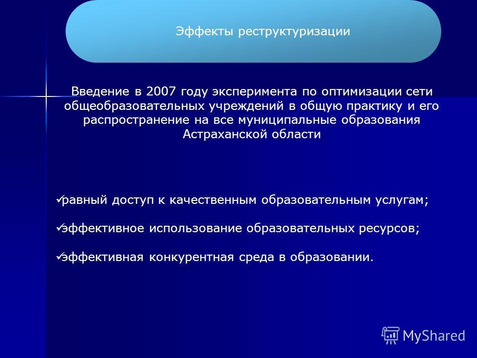Эффекты реструктуризации Введение в 2007 году эксперимента по оптимизации сети общеобразовательных учреждений в общую практику и его распространение на все муниципальные образования Астраханской области равный доступ к качественным образовательным ус