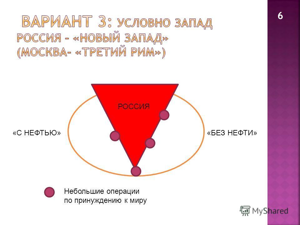 6 РОССИЯ «С НЕФТЬЮ»«БЕЗ НЕФТИ» Небольшие операции по принуждению к миру