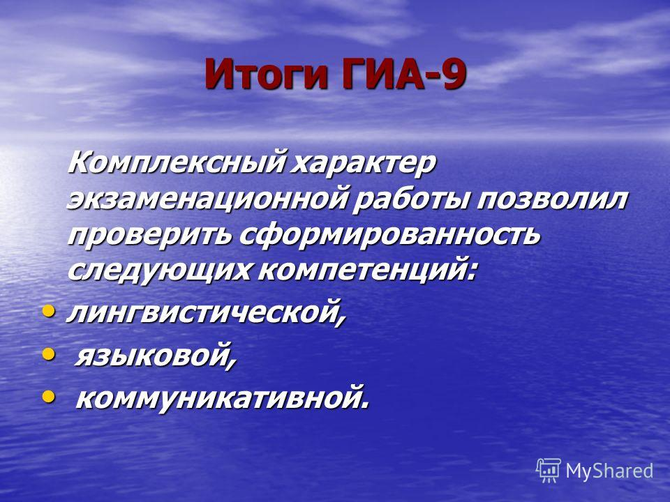 Итоги ГИА-9 Комплексный характер экзаменационной работы позволил проверить сформированность следующих компетенций: лингвистической, лингвистической, языковой, языковой, коммуникативной. коммуникативной.