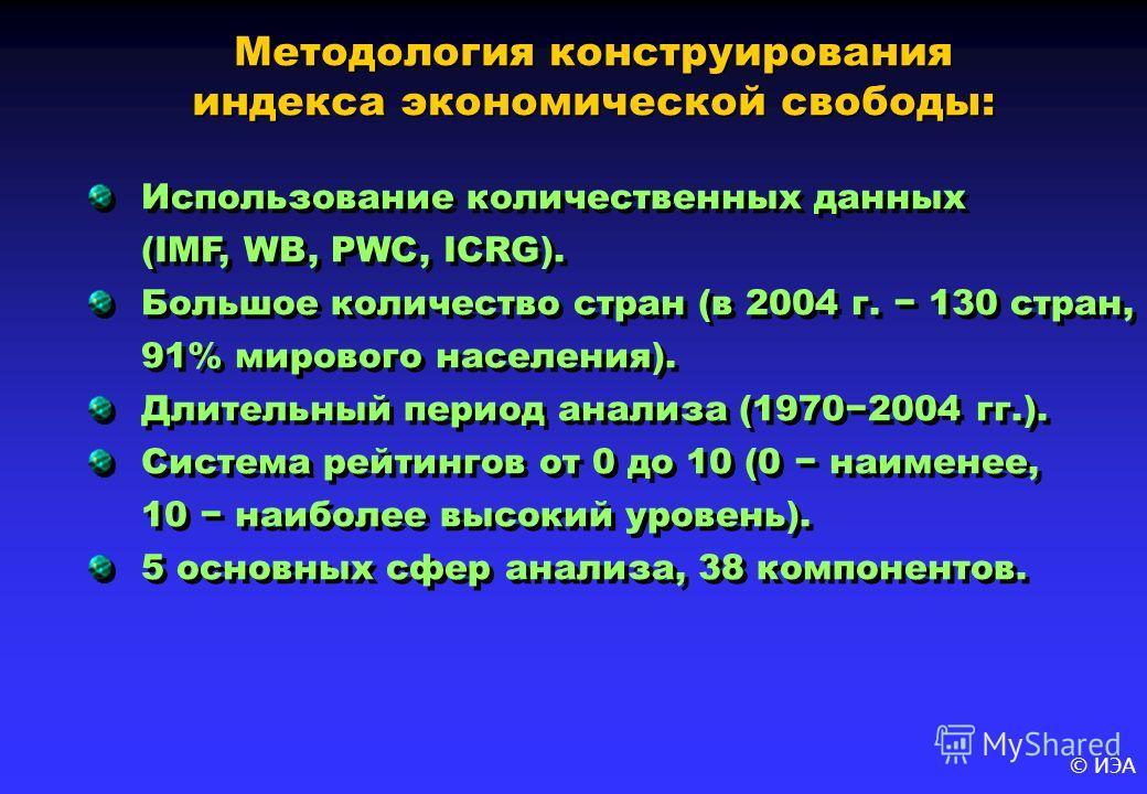 © ИЭА Использование количественных данных (IMF, WB, PWC, ICRG). Большое количество стран (в 2004 г. 130 стран, 91% мирового населения). Длительный период анализа (19702004 гг.). Система рейтингов от 0 до 10 (0 наименее, 10 наиболее высокий уровень).
