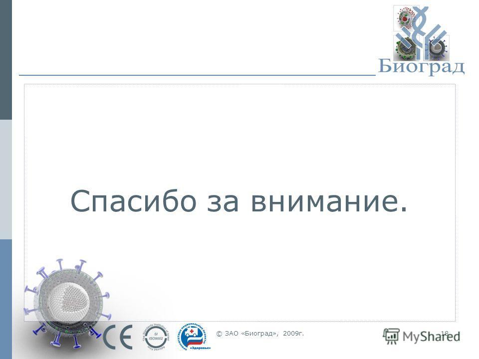 © ЗАО «Биоград», 2009г.18 Спасибо за внимание.