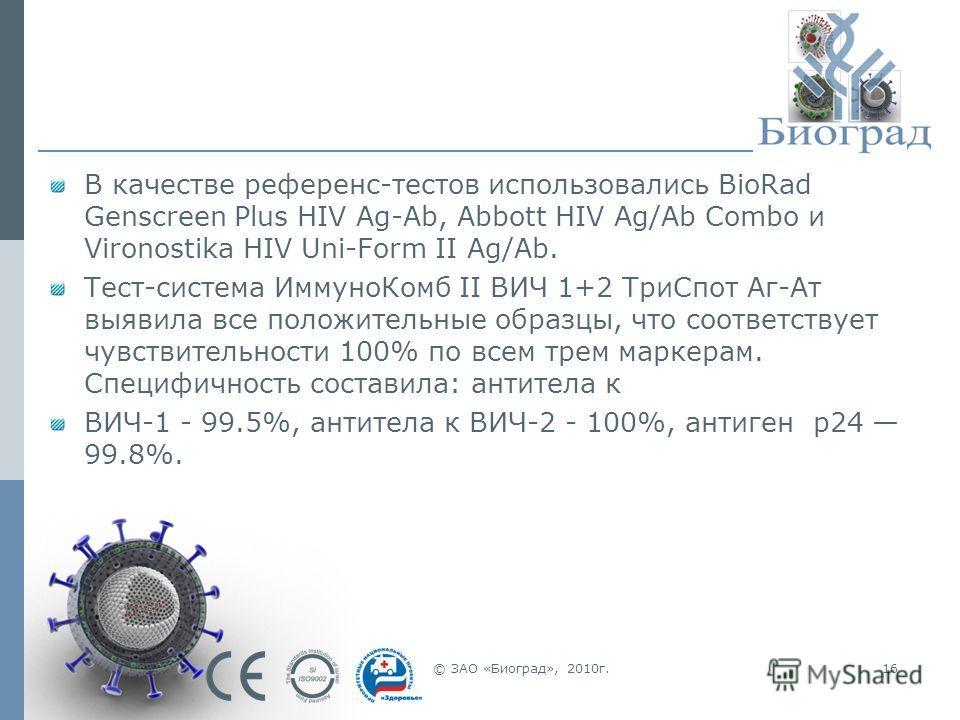 © ЗАО «Биоград», 2010г.16 В качестве референс-тестов использовались BioRad Genscreen Plus HIV Ag-Ab, Abbott HIV Ag/Ab Combo и Vironostika HIV Uni-Form II Ag/Ab. Тест-система ИммуноКомб II ВИЧ 1+2 ТриСпот Аг-Ат выявила все положительные образцы, что с