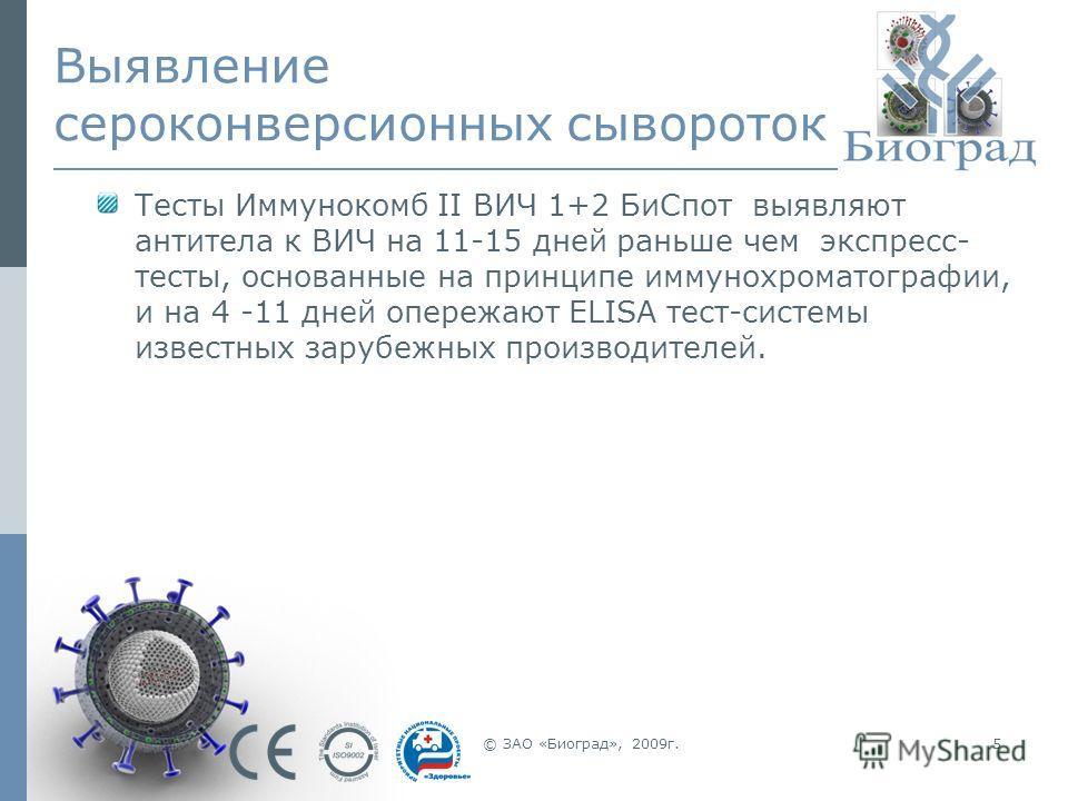 © ЗАО «Биоград», 2009г.5 Выявление сероконверсионных сывороток Тесты Иммунокомб II ВИЧ 1+2 БиСпот выявляют антитела к ВИЧ на 11-15 дней раньше чем экспресс- тесты, основанные на принципе иммунохроматографии, и на 4 -11 дней опережают ELISA тест-систе
