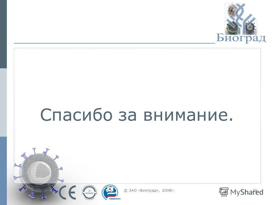 © ЗАО «Биоград», 2008г.20 Спасибо за внимание.