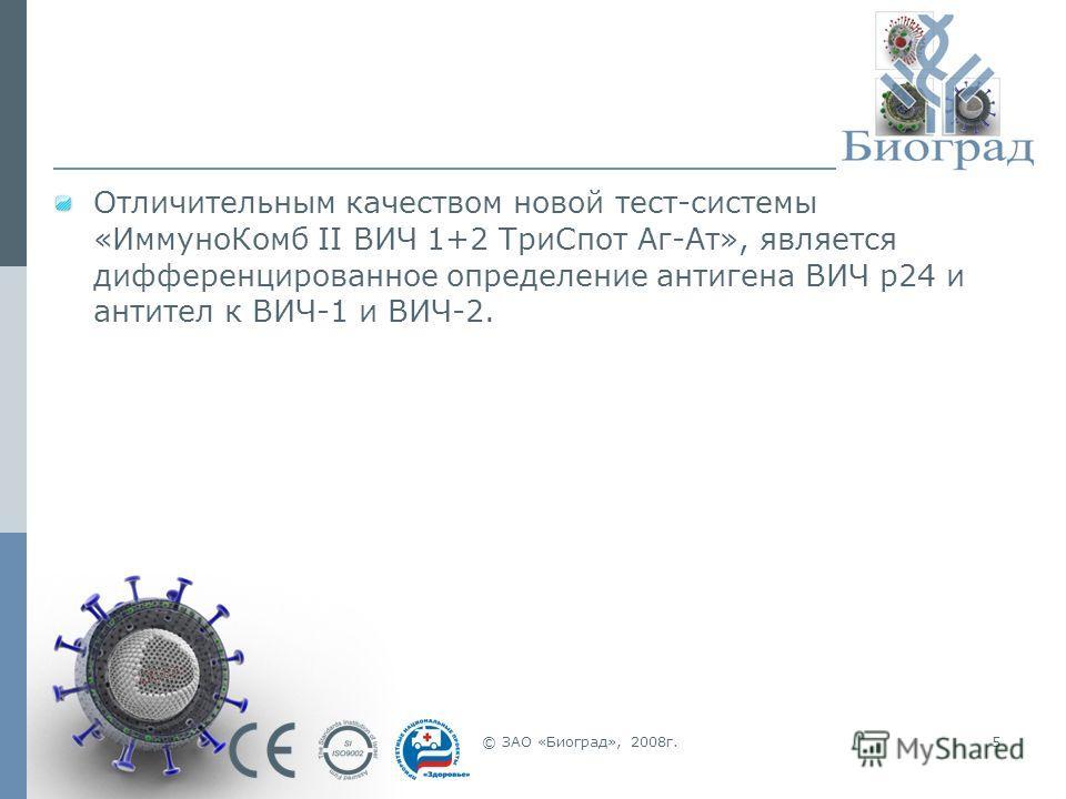 © ЗАО «Биоград», 2008г.5 Отличительным качеством новой тест-системы «ИммуноКомб II ВИЧ 1+2 ТриСпот Аг-Ат», является дифференцированное определение антигена ВИЧ p24 и антител к ВИЧ-1 и ВИЧ-2.