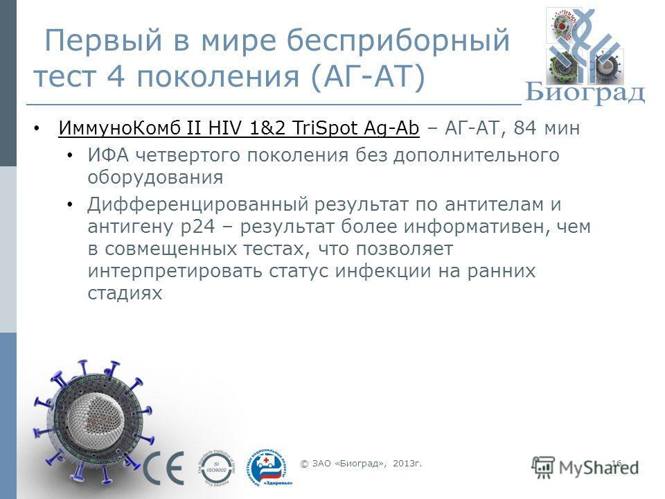 © ЗАО «Биоград», 2013г.16 Первый в мире бесприборный тест 4 поколения (АГ-АТ) ИммуноКомб II HIV 1&2 TriSpot Ag-Ab – АГ-АТ, 84 мин ИФА четвертого поколения без дополнительного оборудования Дифференцированный результат по антителам и антигену p24 – рез