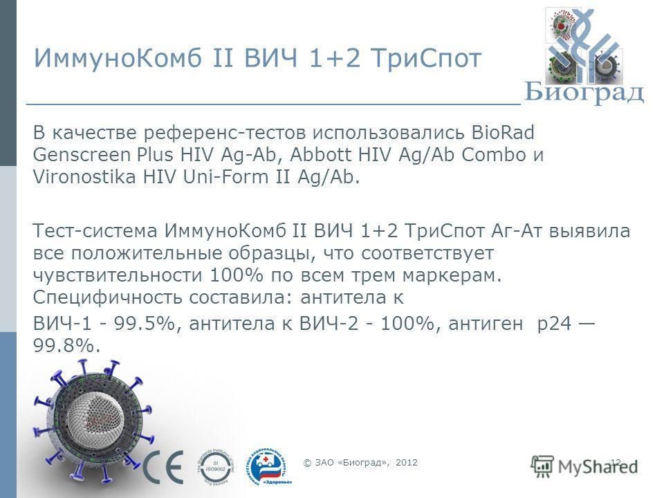 12 ИммуноКомб II ВИЧ 1+2 ТриСпот В качестве референс-тестов использовались BioRad Genscreen Plus HIV Ag-Ab, Abbott HIV Ag/Ab Combo и Vironostika HIV Uni-Form II Ag/Ab. Тест-система ИммуноКомб II ВИЧ 1+2 ТриСпот Аг-Ат выявила все положительные образцы