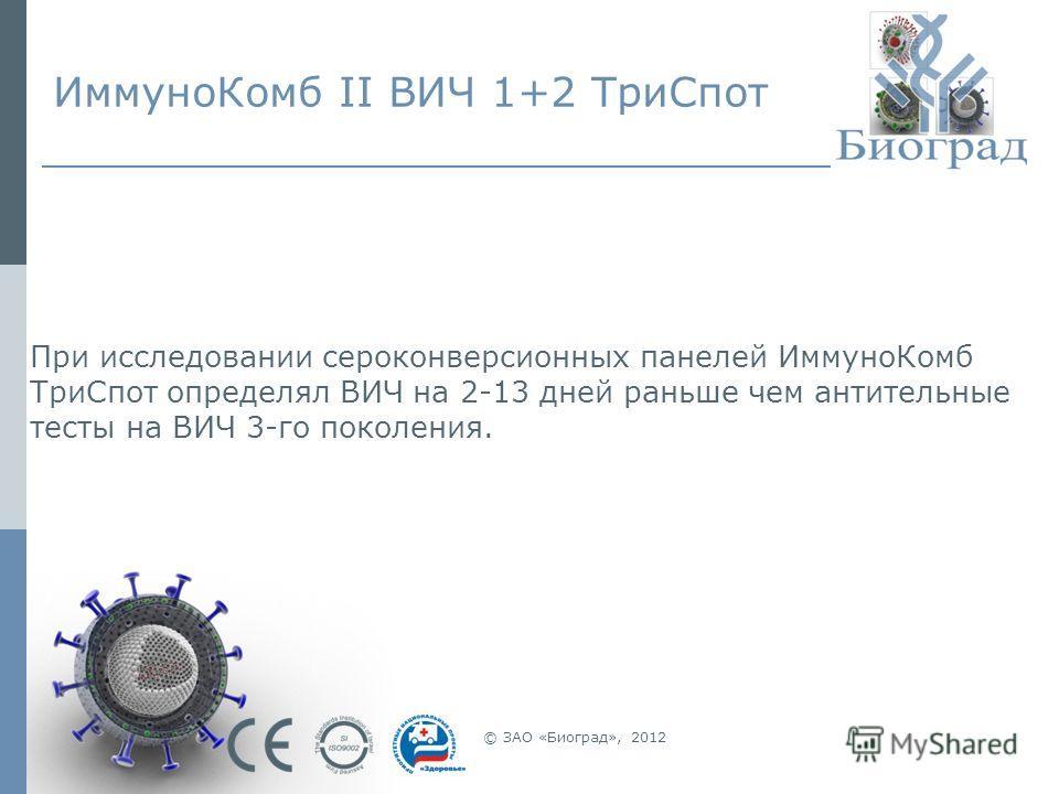 ИммуноКомб II ВИЧ 1+2 ТриСпот © ЗАО «Биоград», 2012 При исследовании сероконверсионных панелей ИммуноКомб ТриСпот определял ВИЧ на 2-13 дней раньше чем антительные тесты на ВИЧ 3-го поколения.