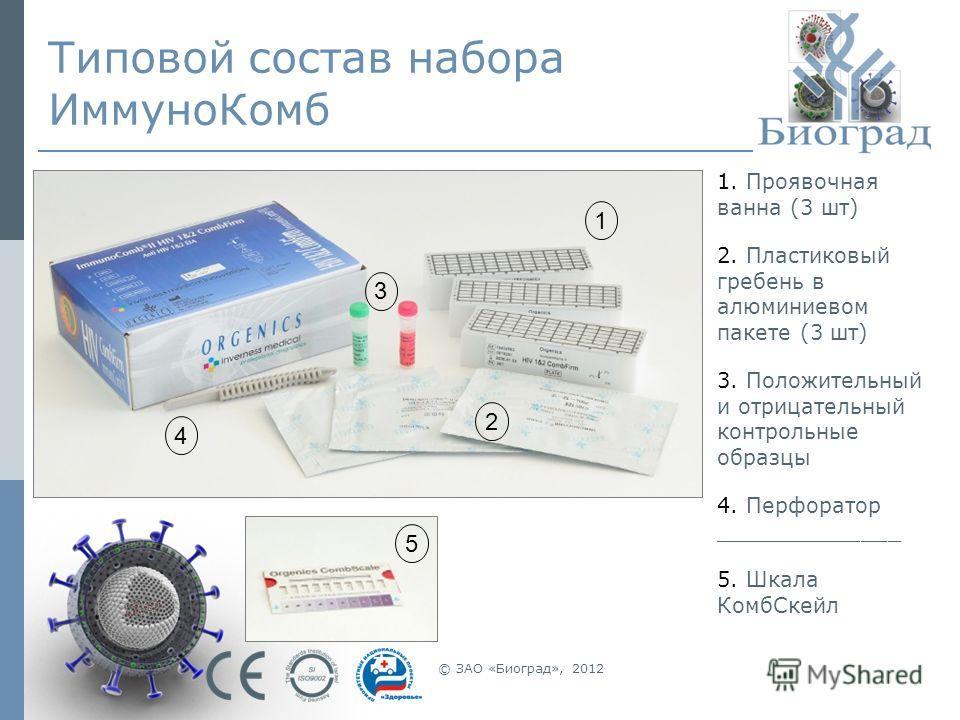 © ЗАО «Биоград», 2012 Типовой состав набора ИммуноКомб 1. Проявочная ванна (3 шт) 2. Пластиковый гребень в алюминиевом пакете (3 шт) 3. Положительный и отрицательный контрольные образцы 4. Перфоратор ______________ 5. Шкала КомбСкейл 1 3 2 4 5