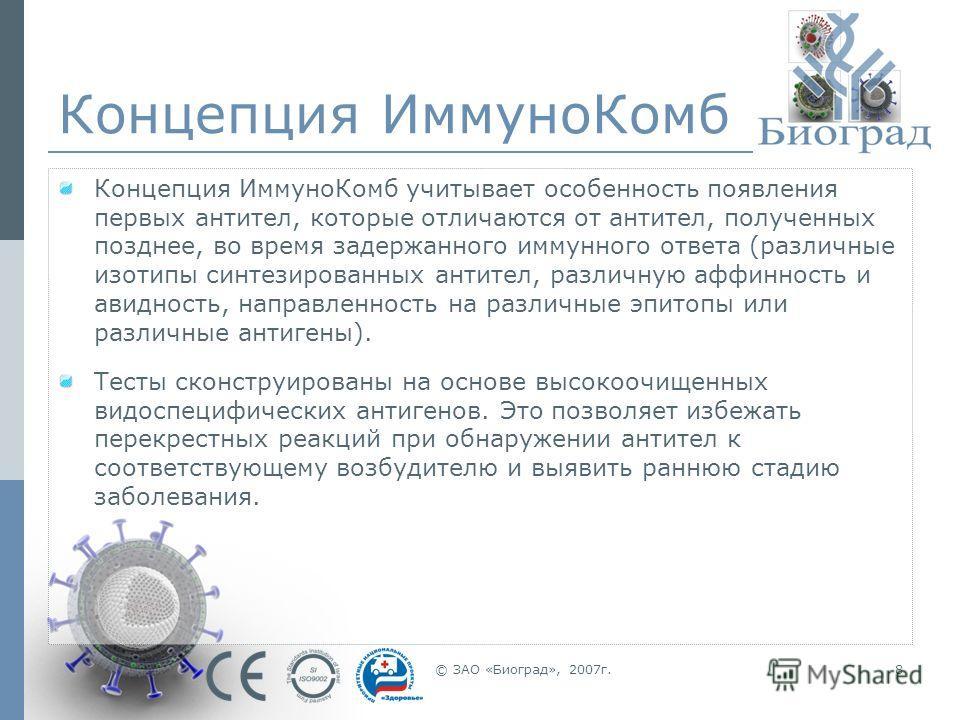 © ЗАО «Биоград», 2007г.8 Концепция ИммуноКомб Концепция ИммуноКомб учитывает особенность появления первых антител, которые отличаются от антител, полученных позднее, во время задержанного иммунного ответа (различные изотипы синтезированных антител, р