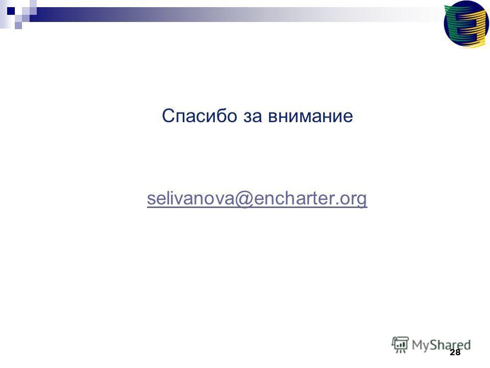 28 Спасибо за внимание selivanova@encharter.org