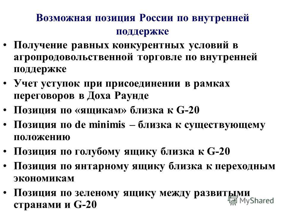 Возможная позиция России по внутренней поддержке Получение равных конкурентных условий в агропродовольственной торговле по внутренней поддержке Учет уступок при присоединении в рамках переговоров в Доха Раунде Позиция по «ящикам» близка к G-20 Позици