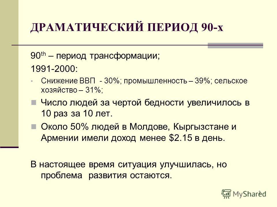 3 ДРАМАТИЧЕСКИЙ ПЕРИОД 90-х 90 th – период трансформации; 1991-2000: Снижение ВВП - 30%; промышленность – 39%; сельское хозяйство – 31%; Число людей за чертой бедности увеличилось в 10 раз за 10 лет. Около 50% людей в Молдове, Кыргызстане и Армении и