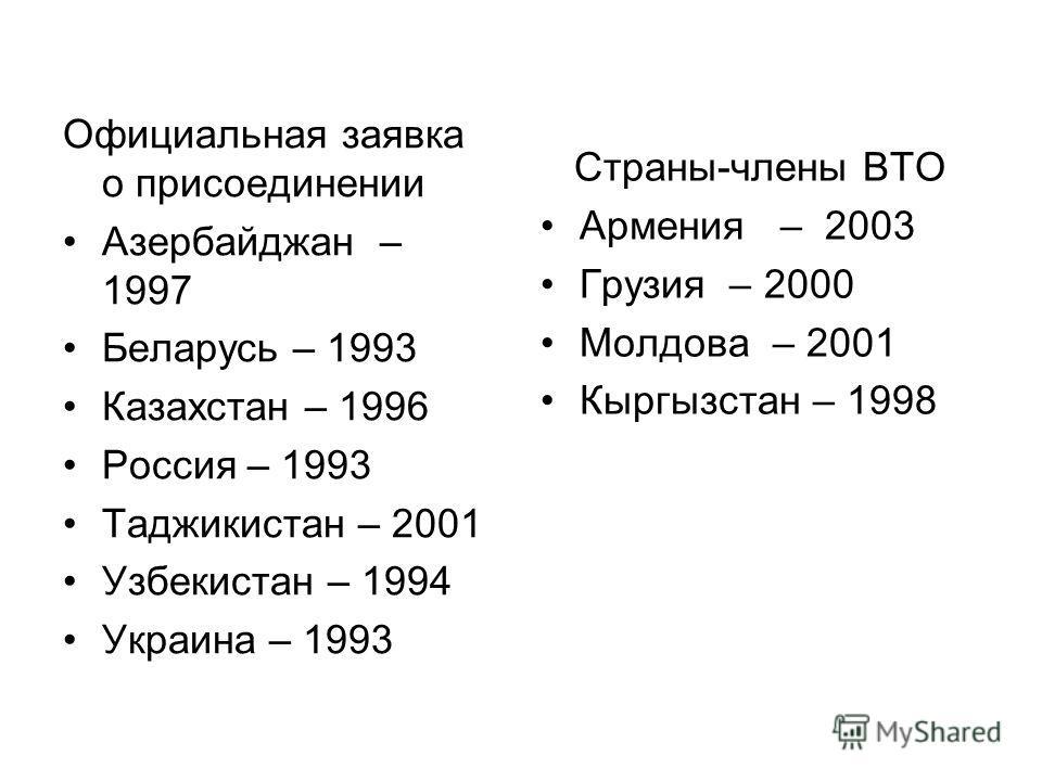 Официальная заявка о присоединении Азербайджан – 1997 Беларусь – 1993 Казахстан – 1996 Россия – 1993 Таджикистан – 2001 Узбекистан – 1994 Украина – 1993 Страны-члены ВТО Армения – 2003 Грузия – 2000 Молдова – 2001 Кыргызстан – 1998