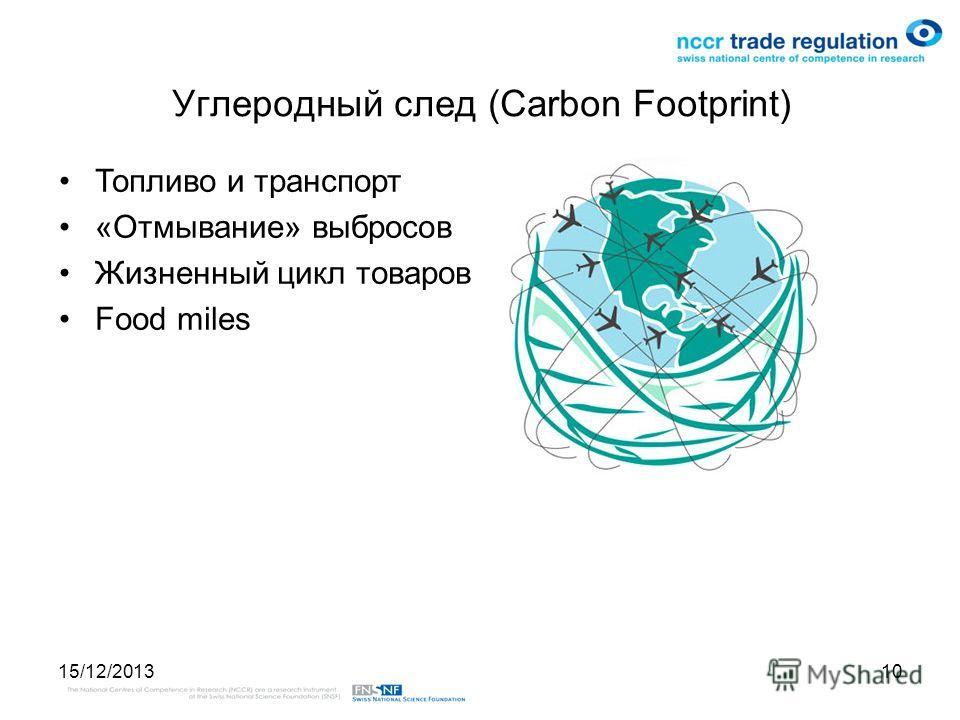 15/12/201310 Углеродный след (Carbon Footprint) Топливо и транспорт «Отмывание» выбросов Жизненный цикл товаров Food miles
