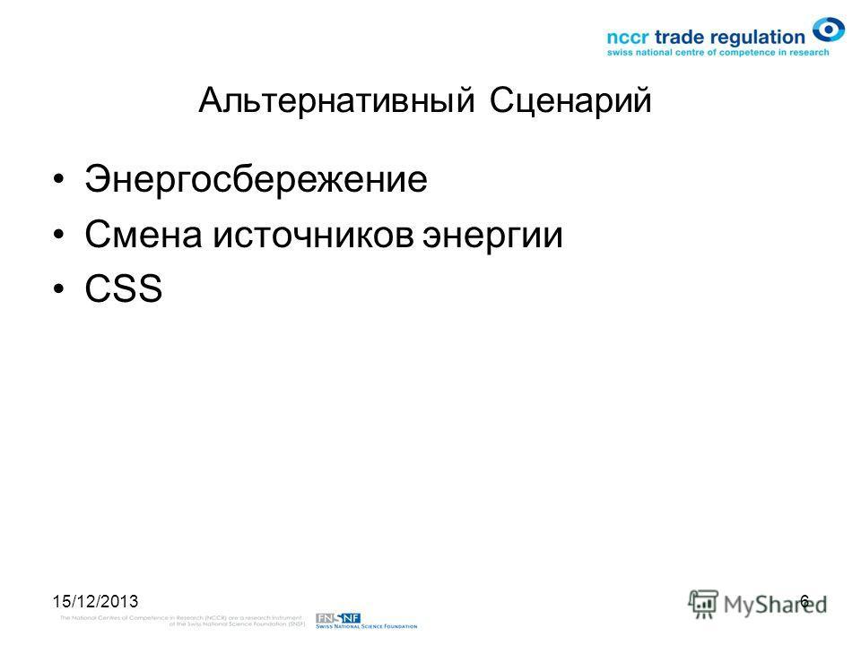 15/12/20136 Альтернативный Сценарий Энергосбережение Смена источников энергии CSS