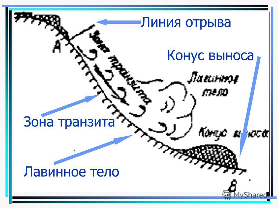 Линия отрыва Конус выноса Зона транзита Лавинное тело