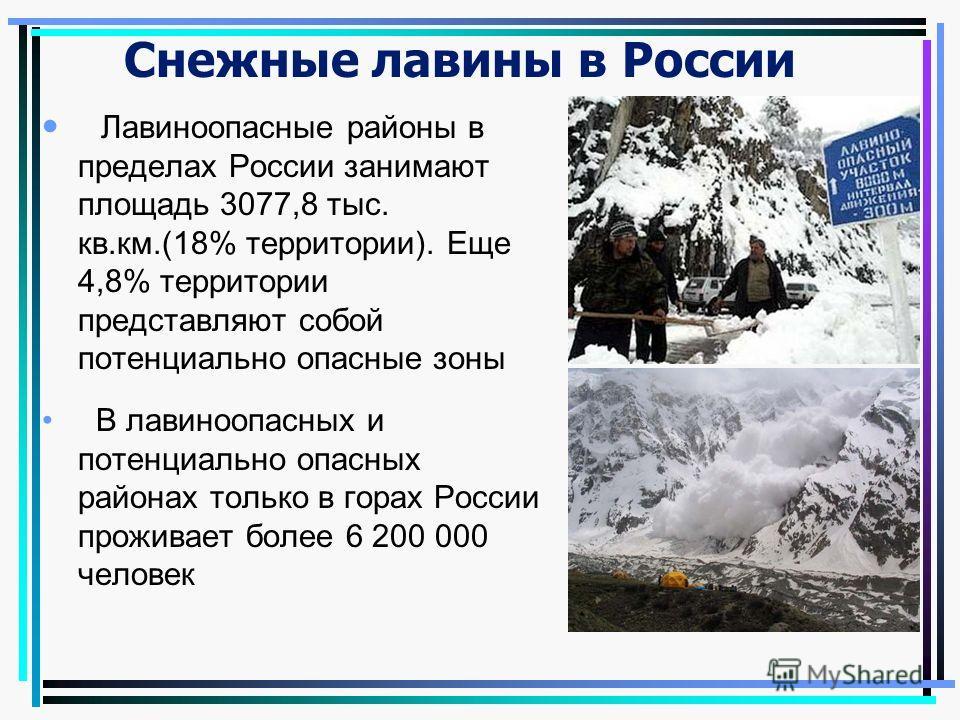 Снежные лавины в России Лавиноопасные районы в пределах России занимают площадь 3077,8 тыс. кв.км.(18% территории). Еще 4,8% территории представляют собой потенциально опасные зоны В лавиноопасных и потенциально опасных районах только в горах России