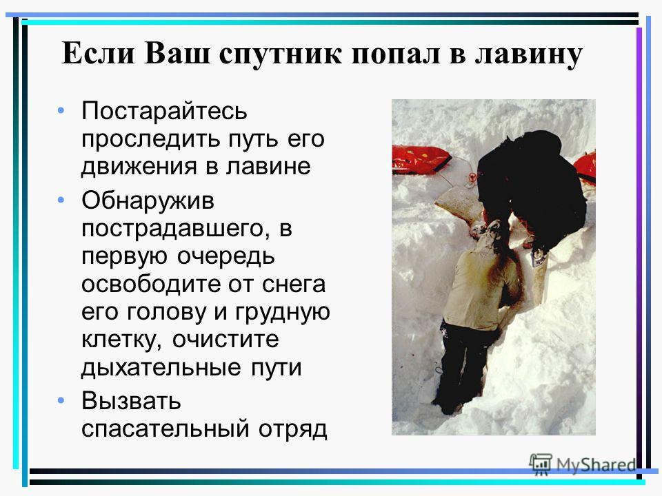 Если Ваш спутник попал в лавину Постарайтесь проследить путь его движения в лавине Обнаружив пострадавшего, в первую очередь освободите от снега его голову и грудную клетку, очистите дыхательные пути Вызвать спасательный отряд
