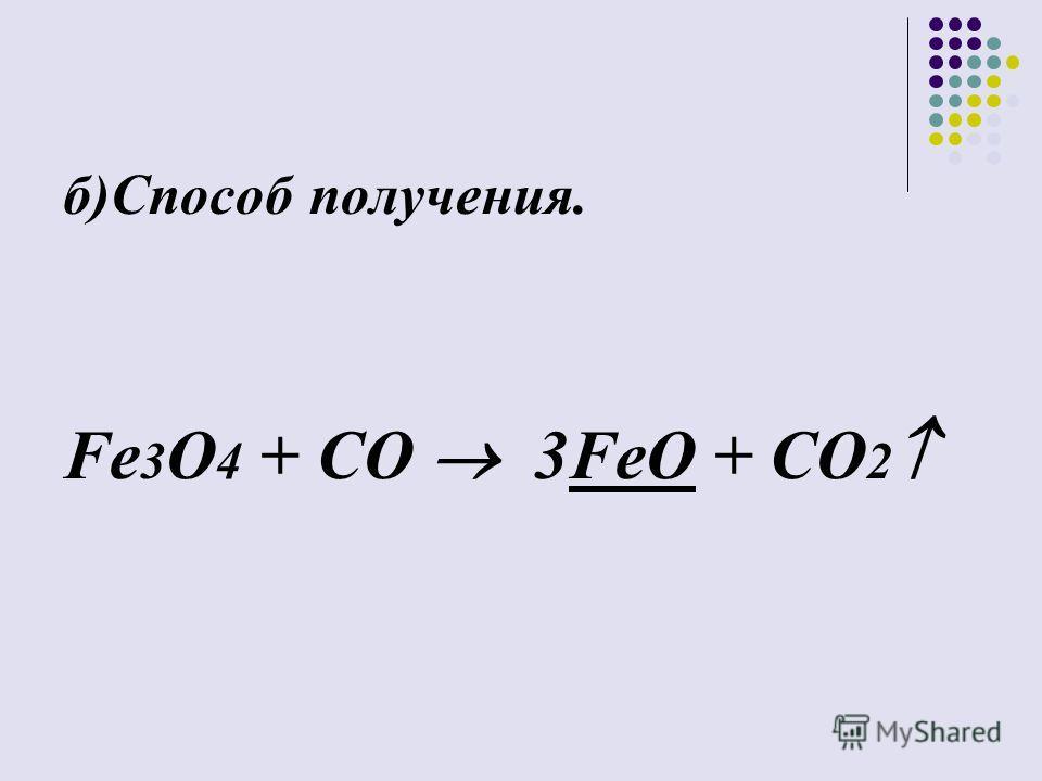 б)Способ получения. Fe 3 O 4 + CO 3FeO + CO 2