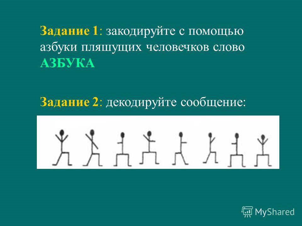 Задание 1: закодируйте с помощью азбуки пляшущих человечков слово АЗБУКА Задание 2: декодируйте сообщение: