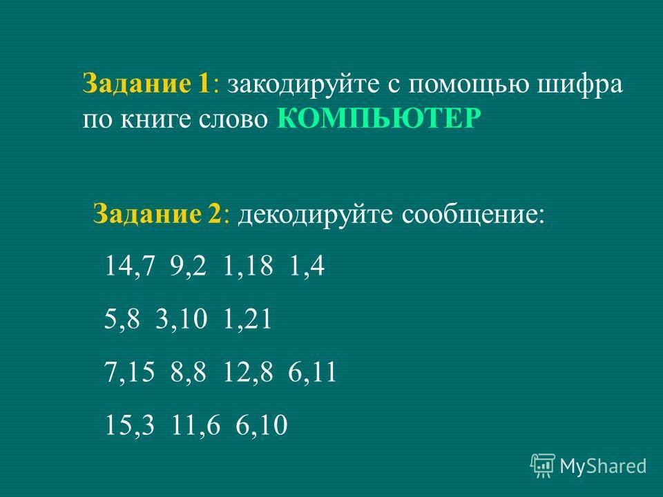 Задание 1: закодируйте с помощью шифра по книге слово КОМПЬЮТЕР Задание 2: декодируйте сообщение: 14,7 9,2 1,18 1,4 5,8 3,10 1,21 7,15 8,8 12,8 6,11 15,3 11,6 6,10