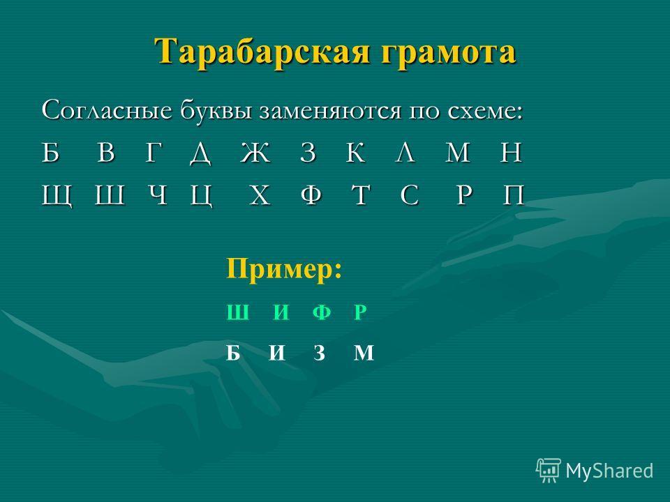 Тарабарская грамота Согласные буквы заменяются по схеме: Б В Г Д Ж З К Л М Н Щ Ш Ч Ц Х Ф Т С Р П Пример: Ш И Ф Р Б И З М