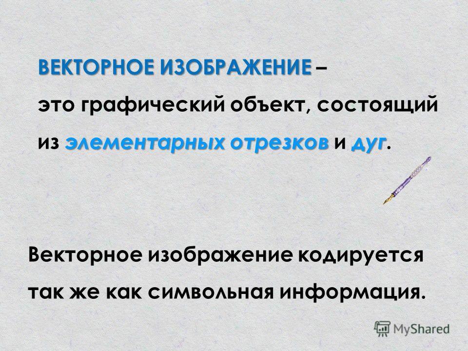 ВЕКТОРНОЕ ИЗОБРАЖЕНИЕ элементарных отрезков дуг ВЕКТОРНОЕ ИЗОБРАЖЕНИЕ – это графический объект, состоящий из элементарных отрезков и дуг. Векторное изображение кодируется так же как символьная информация.