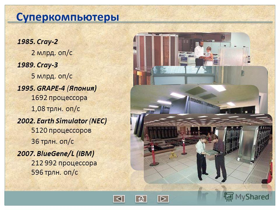 1985. Cray-2 2 млрд. оп/c 1989. Cray-3 5 млрд. оп/c 1995. GRAPE-4 (Япония) 1692 процессора 1,08 трлн. оп/c 2002. Earth Simulator (NEC) 5120 процессоров 36 трлн. оп/c 2007. BlueGene/L (IBM) 212 992 процессора 596 трлн. оп/c Суперкомпьютеры