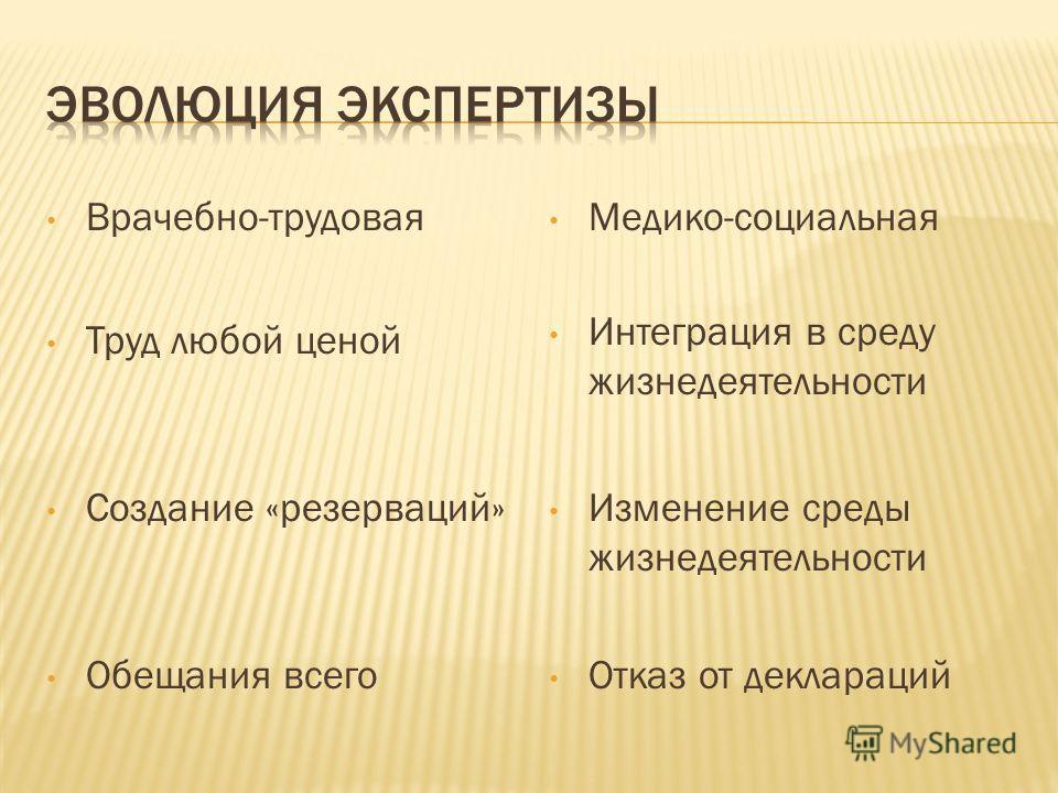 Врачебно-трудовая Медико-социальная Труд любой ценой Создание «резерваций» Обещания всего Интеграция в среду жизнедеятельности Изменение среды жизнедеятельности Отказ от деклараций