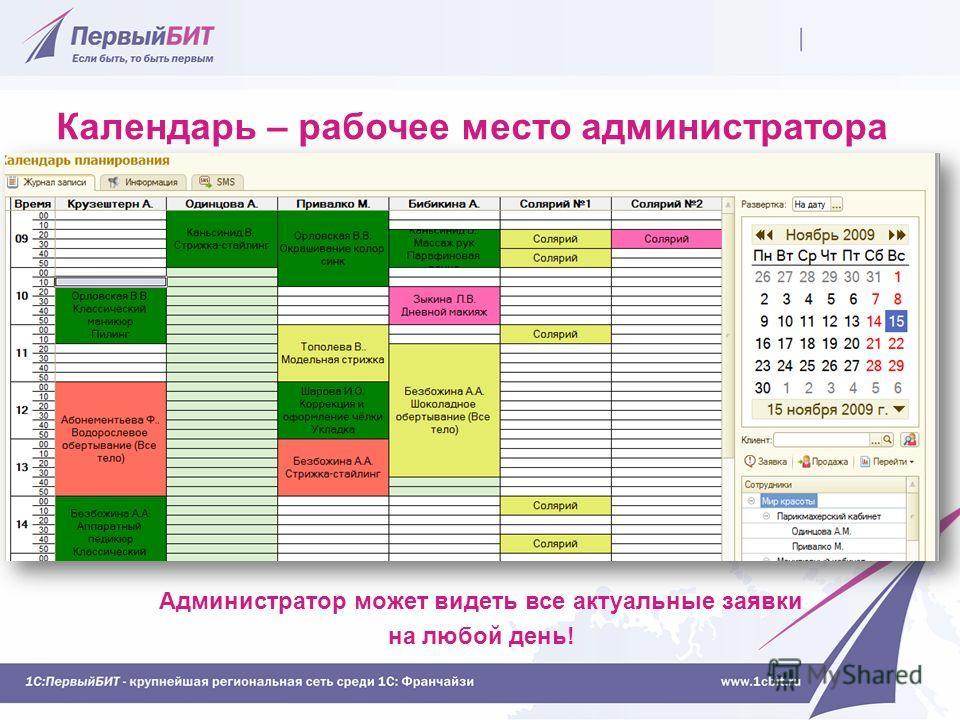 Календарь – рабочее место администратора Администратор может видеть все актуальные заявки на любой день!