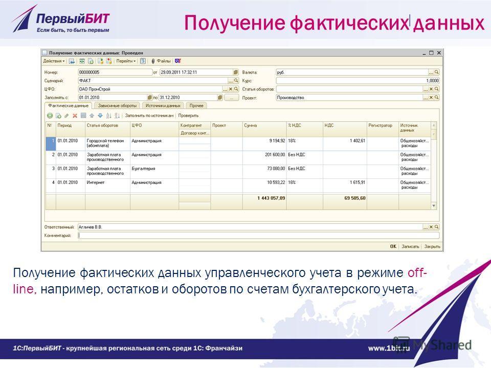 Получение фактических данных управленческого учета в режиме off- line, например, остатков и оборотов по счетам бухгалтерского учета. Получение фактических данных