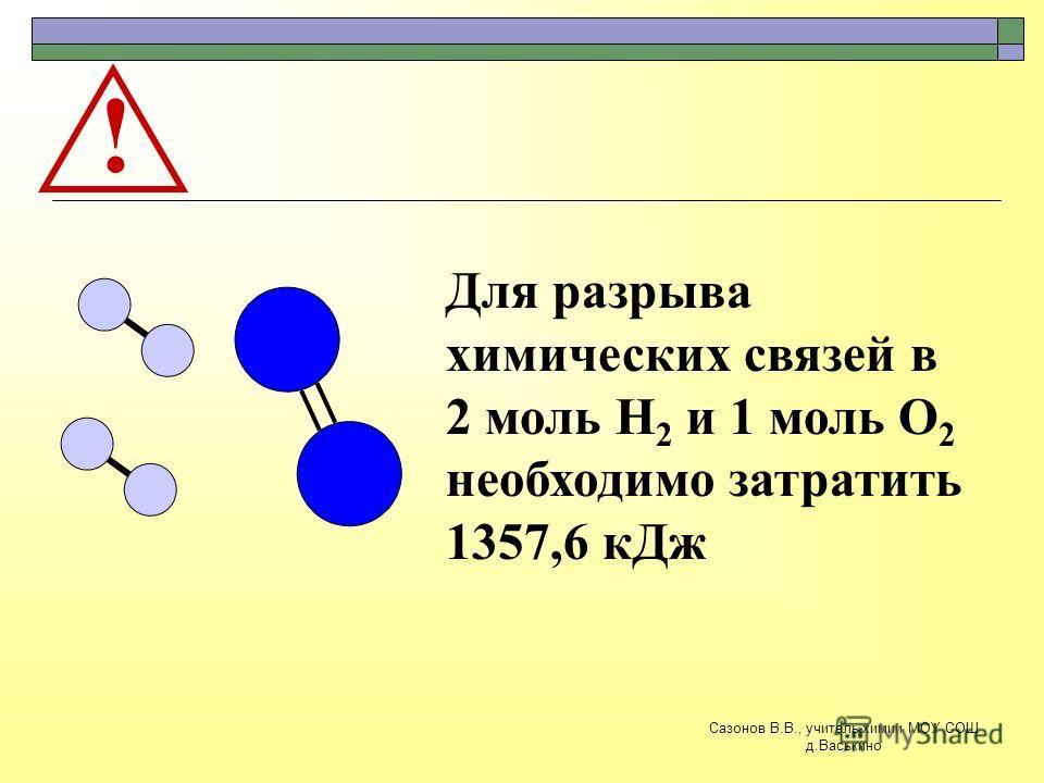 ! Для разрыва химических связей в 2 моль Н 2 и 1 моль О 2 необходимо затратить 1357,6 кДж Сазонов В.В., учитель химии МОУ СОШ д.Васькино