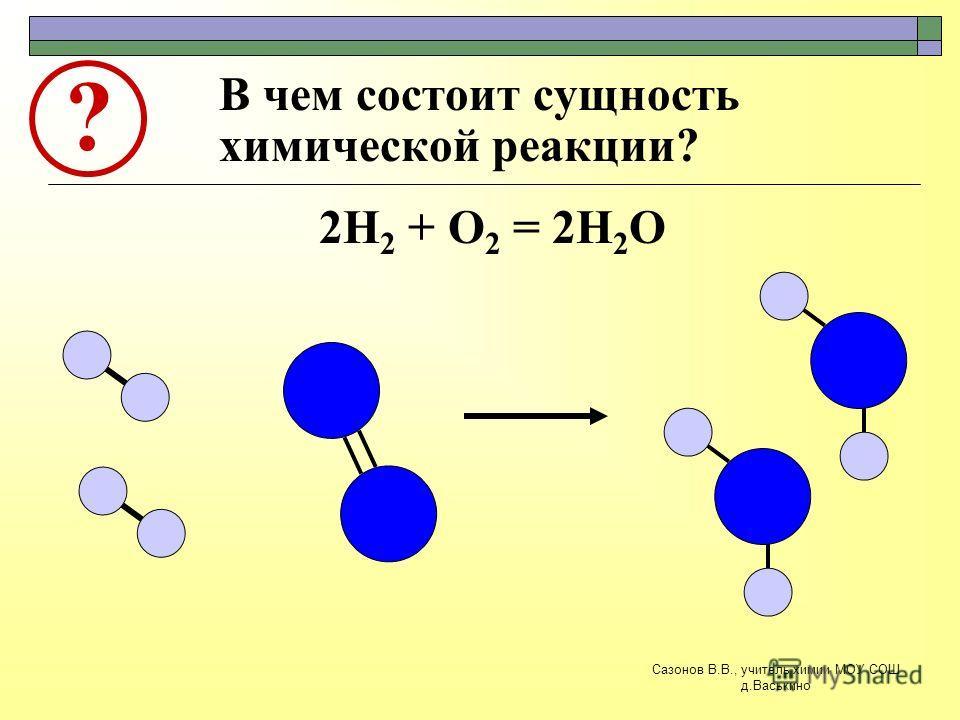 В чем состоит сущность химической реакции? ? 2Н 2 + О 2 = 2Н 2 О Сазонов В.В., учитель химии МОУ СОШ д.Васькино