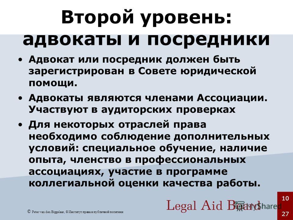 10 27 Второй уровень: адвокаты и посредники Адвокат или посредник должен быть зарегистрирован в Совете юридической помощи. Адвокаты являются членами Ассоциации. Участвуют в аудиторских проверках Для некоторых отраслей права необходимо соблюдение допо