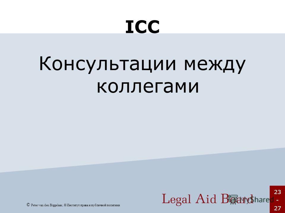 23 - 27 ICC Консультации между коллегами © Peter van den Biggelaar, © Институт права и публичной политики
