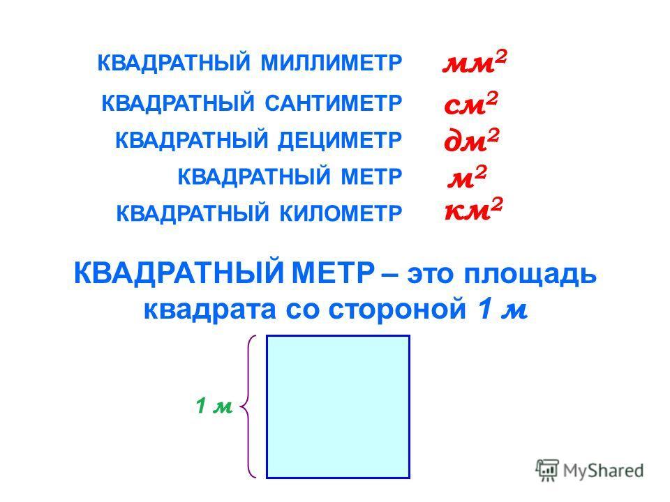 1 квадратный метр равен это: