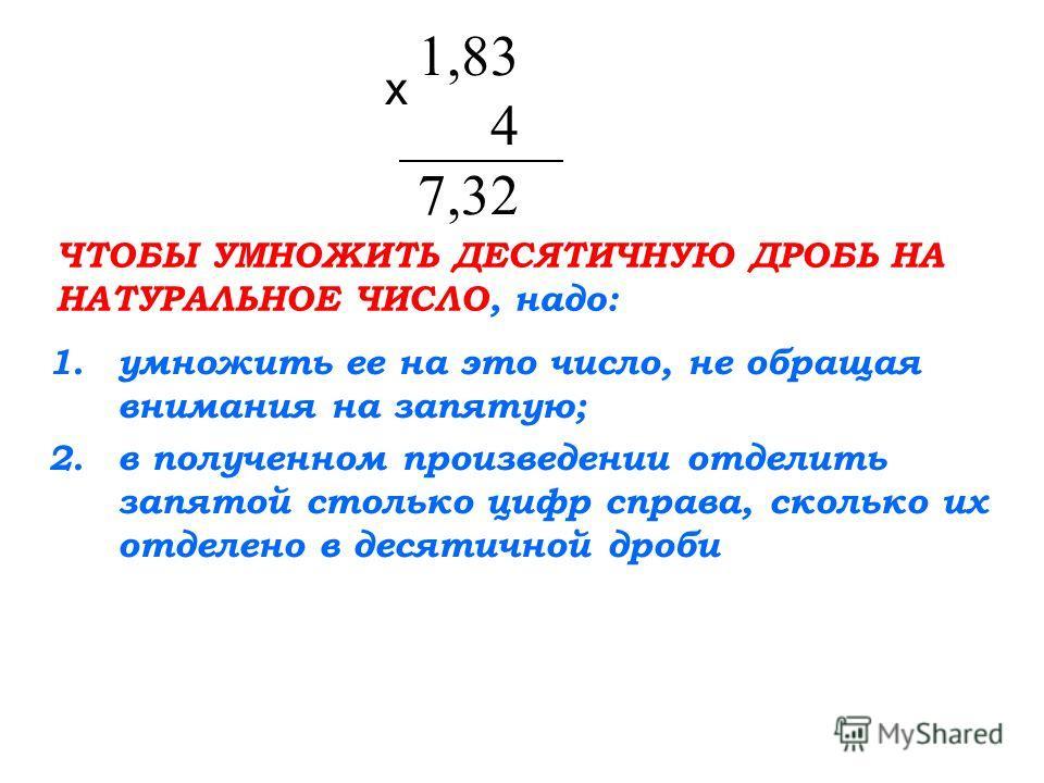 1,83 4 7,32 х ЧТОБЫ УМНОЖИТЬ ДЕСЯТИЧНУЮ ДРОБЬ НА НАТУРАЛЬНОЕ ЧИСЛО, надо: 1.умножить ее на это число, не обращая внимания на запятую; 2.в полученном произведении отделить запятой столько цифр справа, сколько их отделено в десятичной дроби