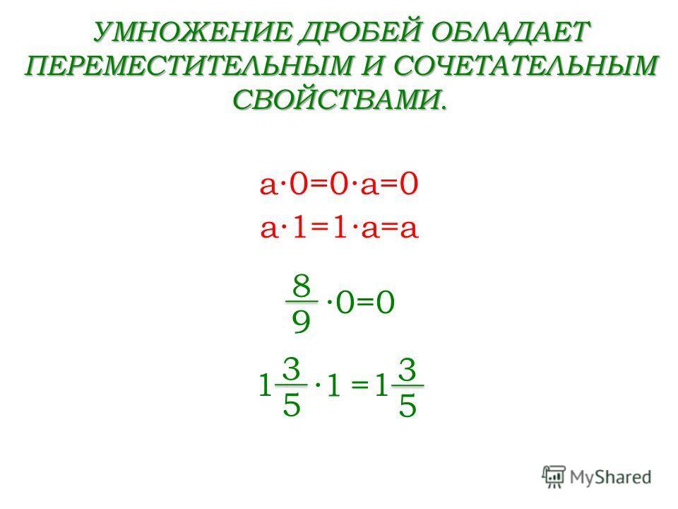 УМНОЖЕНИЕ ДРОБЕЙ ОБЛАДАЕТ ПЕРЕМЕСТИТЕЛЬНЫМ И СОЧЕТАТЕЛЬНЫМ СВОЙСТВАМИ. a0=0a=0 a1=1a=a 0=0 8 9 3 5 1 = 3 5 11