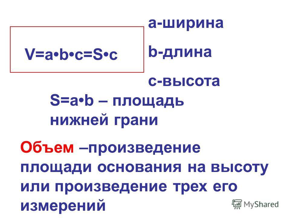 a-ширина b-длина с-высота S=аb – площадь нижней грани V=abc=Sc Объем –произведение площади основания на высоту или произведение трех его измерений